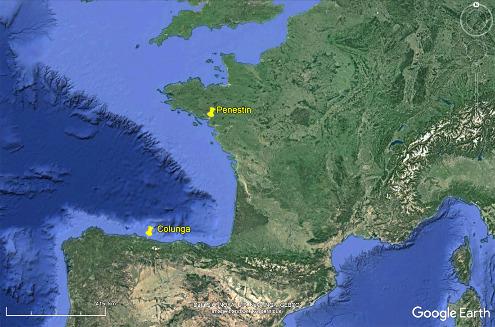 Localisation des traces de racines actuelles à Pénestin (Bretagne) et des traces de racines jurassiques de Colunga (Espagne)
