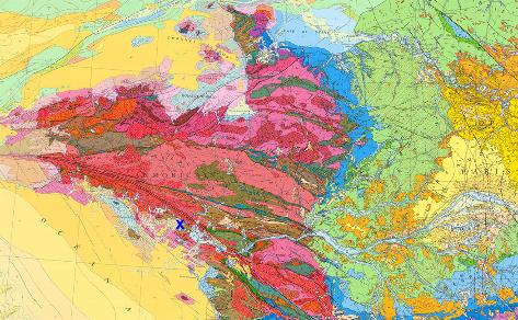 Localisation de Pénestin (croix bleue) sur la carte géologique du Massif Armoricain
