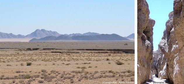 Le canyon de Sesriem (Namibie), vu du dessus et depuis le fond