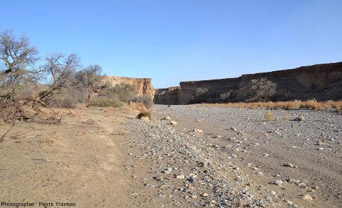 Parcours d'aval en amont tout le long du canyon de Sesriem, Namibie, vue 1/11
