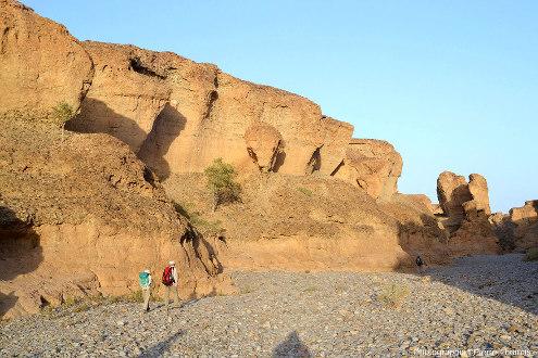 Parcours d'aval en amont tout le long du canyon de Sesriem, Namibie, vue 6/11