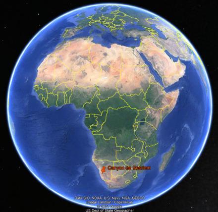 Localisation du canyon de Sesriem en Namibie