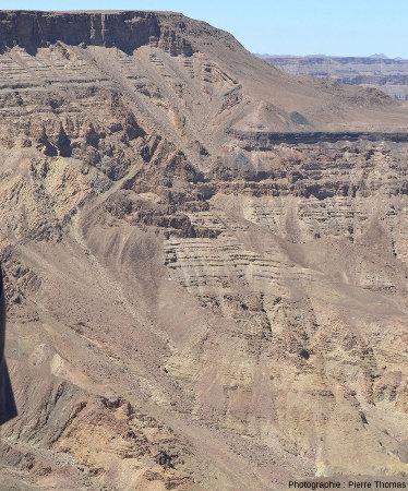 """Zoom sur la """"flexure"""" qui décale la série du Nama et son substratum, canyon de la Fish River, Namibie"""