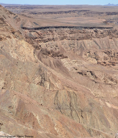Vue générale sur un essaim de dykes de dolérite (770Ma) intrusif dans les roches métamorphiques du Namaqualand (1100Ma)
