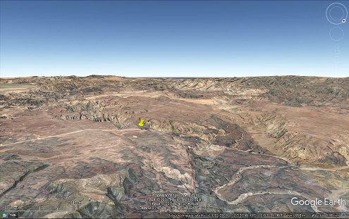 Vue aérienne de l'entrée Nord du canyon de la Fish River (punaise jaune), Namibie