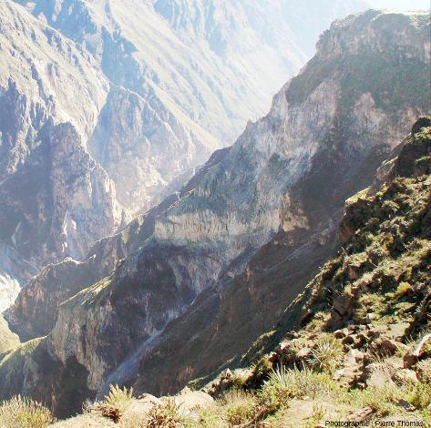Détail de la paroi de la rive Sud du canyon de Colca au niveau de la Croix du Condor (Pérou)