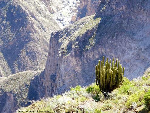 Gros plan sur la falaise inférieure de la figure précédente, paroi de la rive Sud du canyon de Colca (Pérou)