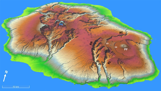 Carte morphologique de l'ile de la Réunion