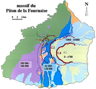Carte volcano-structurale du massif du Piton de la Fournaise, ile de La Réunion