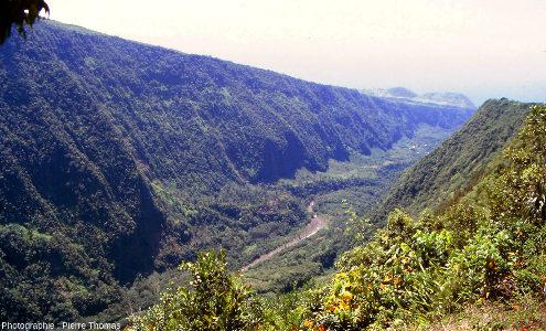 Vue sur l'aval de la vallée de la rivière Langevin, ile de La Réunion, photographié depuis Grand-Coude