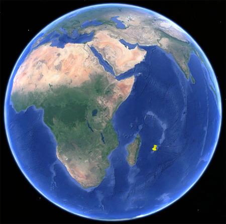 Localisation de l'ile de la Réunion dans l'Océan indien