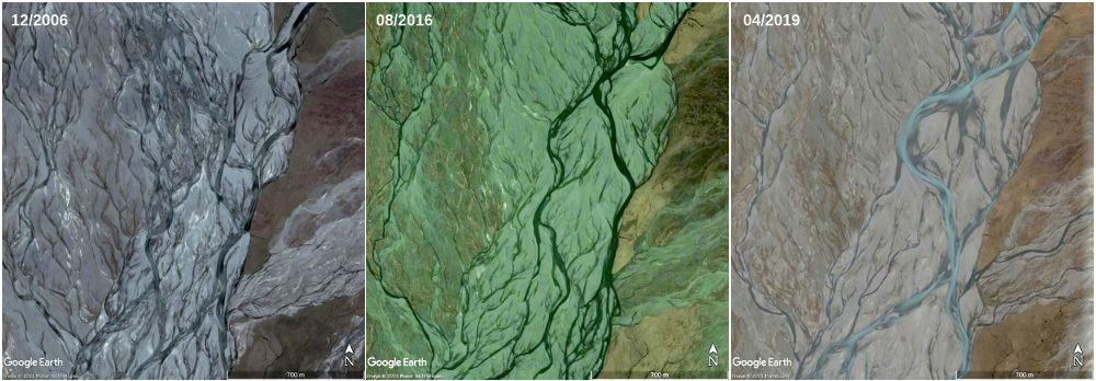 Montage montrant le même site à 3 dates différentes et mettant en évidence le déplacement des chenaux en tresses dans le lit de la Godley River, Nouvelle-Zélande