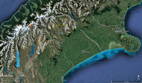 L'amont de la Godley River et le lac Tekapo dans les Alpes du Sud de Nouvelle-Zélande