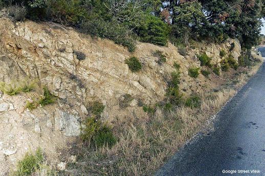 État de l'affleurement où a été prélevé l'échantillon précédent, environ 25 ans après que les services de l'Équipement des Pyrénées-Orientales a élargi la route départementale D38