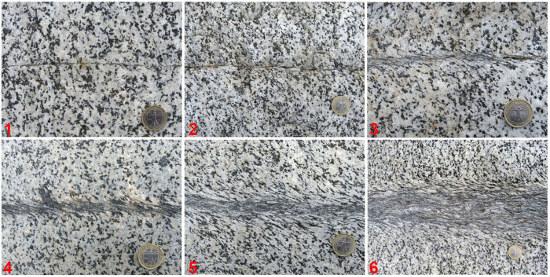 Détails de six zones de cisaillement développées dans une granodiorite du Tyrol italien
