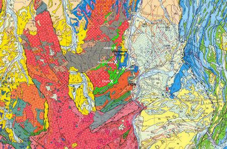 Extrait de la carte géologique de France au 1/1000000 montrant la localisation de la série de la Brévenne sensu lato