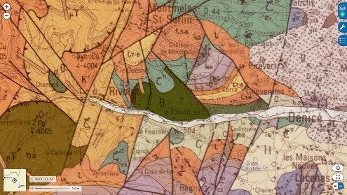 Extrait de la carte géologique d'Amplepuis montrant le massif de gabbro de Rivolet (θ) géographiquement associé à des dolérites (dθ) et à des méta-sédiments (ζ11)