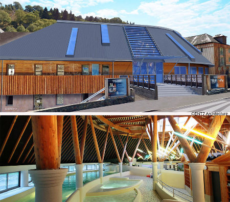 Caleden, le nouvel établissement thermal de Chaudes-Aigues, à vocation mixte: il utilise les eaux chaudes à des fins médicales et ludiques