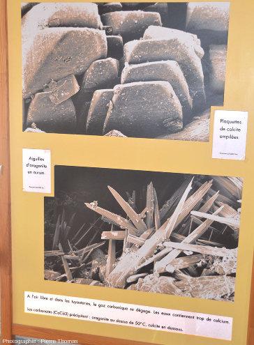 Panneau du musée Géothermia montrant les deux types de dépôts de CaCO3 qui précipitent dans les tuyaux