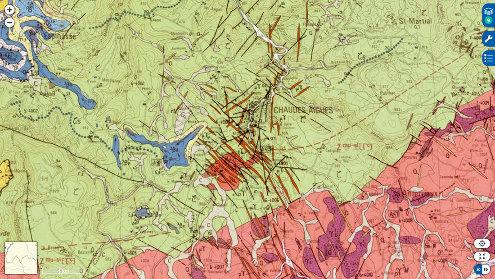 Extrait de la carte géologique à 1/50000 de Chaudes-Aigues, Cantal