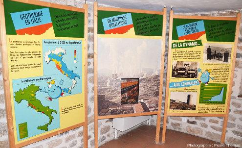 Le musée Géothermia traite de la géothermie au-delà du simple contexte local de Chaudes-Aigues comme en témoignent ces panneaux sur la géothermie en Italie