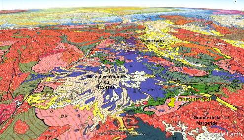 Extrait avec la même projection de la carte géologique à 1/1000000 de la région de Chaudes-Aigues, Cantal