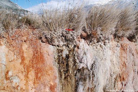 Dépôts et concrétions visibles sur les flancs de la levée de la Source des Suisses, Plan de Phazy (Hautes-Alpes)