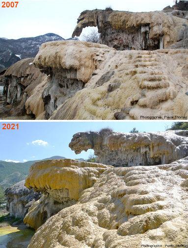 Comparaison de deux photos de la fontaine pétrifiante de Réotier (Hautes-Alpes)