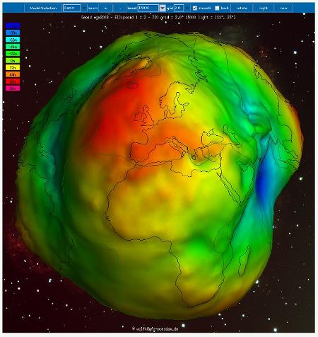 Représentation des ondulations du géoïde