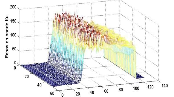 Exemple réel d'une succession de 50 signaux d'écho enregistrés par l'altimètre