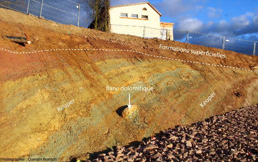 Banc discontinu de calcaire dolomitique en saillie sur l'affleurement