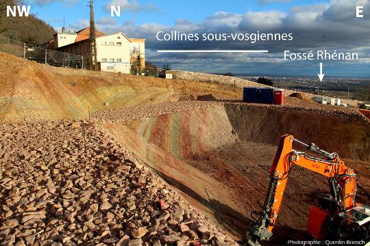 Vue d'ensemble du site montrant le pendage des strates du Keuper vers l'Ouest