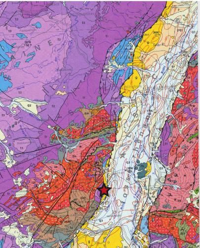 Extrait de la carte géologique de la France au millionième centrée sur le Fossé rhénan