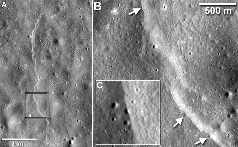 Série de zooms sur l'escarpement lunaire Mandel'shtam scarp (~6.9°N, 161°E)