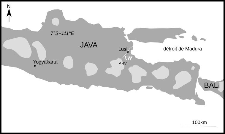 Localisation du volcan de boue Lusi, district de Sidoarjo, sur l'île de Java
