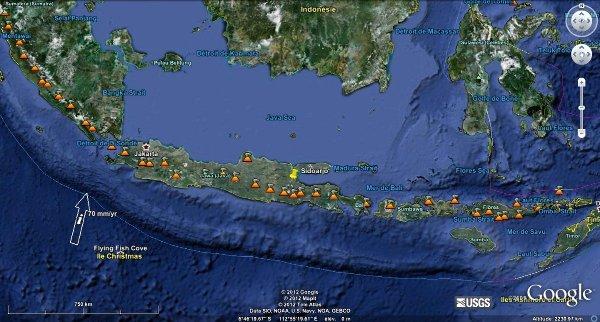 Localisation de Sidoarjo sur l'île de Java, Indonésie