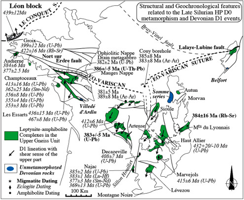 Schéma structural des Massifs Armoricain, Central et des Vosges localisant les roches de haute pression et les données structurales et géochronologiques des événements D0 et D1