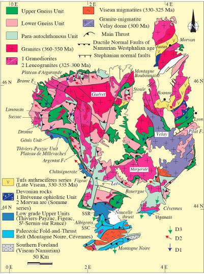 Schéma structural du Massif central montrant les grandes unités litho-tectoniques ainsi que les trois événements compressifs (D1, D2, D3)