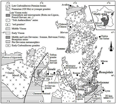 Schéma structural du Nord-Est du Massif Central