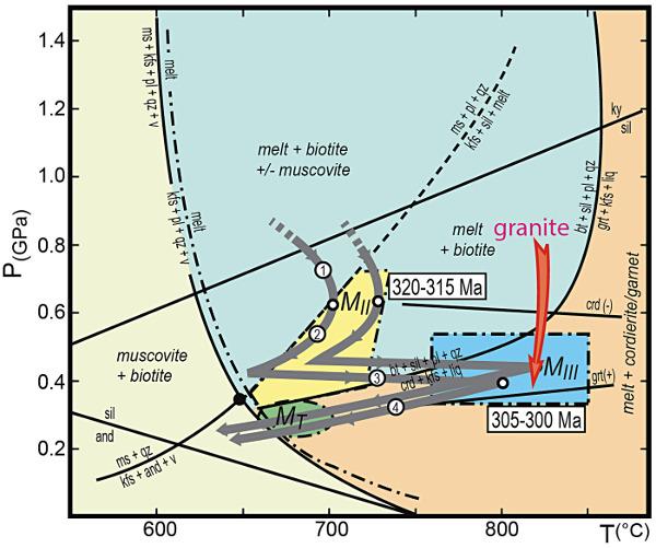 Trajets P-T-t des migmatites MII et MIII-MT en gris et du granite à cordiérite du Velay (γ) en rouge dans le massif du Velay et son enveloppe