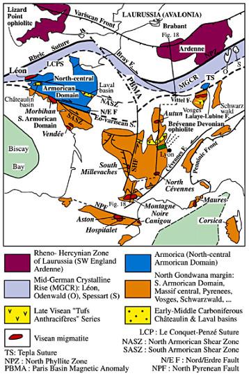 Carte de la distribution des migmatites MII du Carbonifère moyen (Viséen-Serpukhovien) dans la chaine varisque française