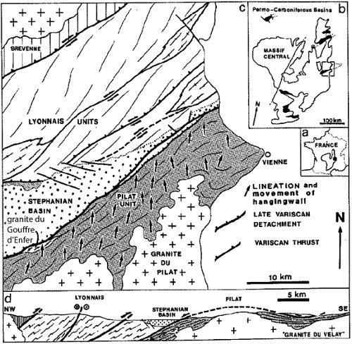 Carte structurale et coupe du bassin houiller de Saint-Étienne, de la faille de détachement du Pilat et du bord Nord du dôme du Velay