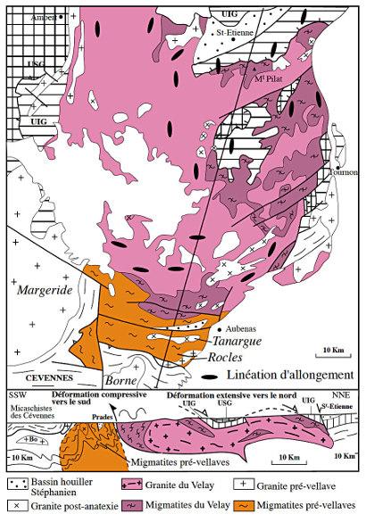 Schéma structural et coupe du dôme du Velay montrant les deux générations de migmatites, ainsi que la faille de détachement du Pilat au Nord et le chevauchement vers le Sud