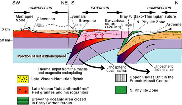Coupe interprétative à l'échelle lithosphérique d'un profil Ardennes-Montagne Noire avec transfert du flux de chaleur de l'asthénosphère vers la croûte par délamination du manteau lithosphérique