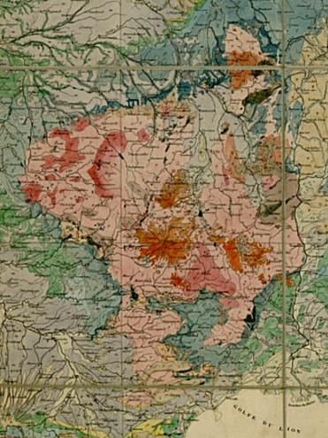 Agrandissement du Massif Central dans la carte géologique de France de Dufrénoy et Élie de Beaumont