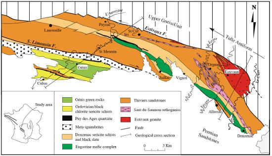 Schéma structural des unités de Génis et de Thiviers-Payzac dans le Limousin méridional
