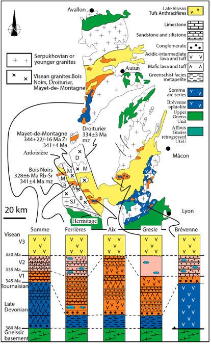 Carte schématique et colonnes lithostratigraphiques des séries du Dévonien-Viséen reconnues dans le Nord-Est du Massif Central