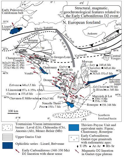 Schéma structural des Massifs Armoricain, Central et des Vosges localisant les données structurales, magmatiques et géochronologiques de l'événement D2