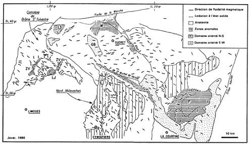 Carte de l'anisotropie de susceptibilité magnétique linéaire (ou linéation) du massif de Guéret et des massifs granitiques environnants: Brâme-Saint-Sylvestre et Millevaches