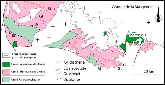 Schéma structural et isogrades metamorphiques de la série du Lot